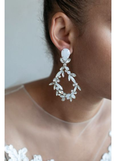 Dramatic Navette Teardrop Earrings - Crafted of clear and opal crystal navettes, these