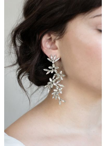 Twigs and Honey Grey (Cascading Crystal Flower Drop Earrings)