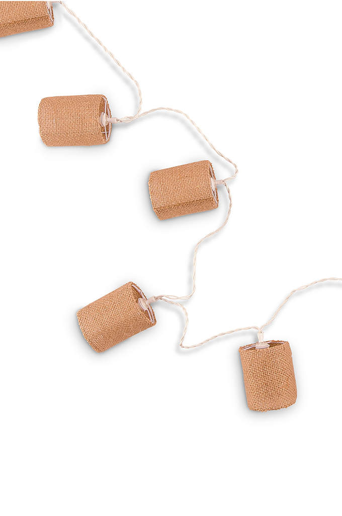Natural Burlap Shade String Lights - These battery powered LED lights wrapped in ten