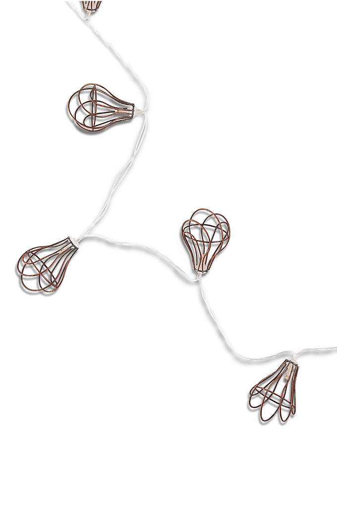 Light Bulb Wire Cage String Lights - These ten extraordinary battery powered LED lights are