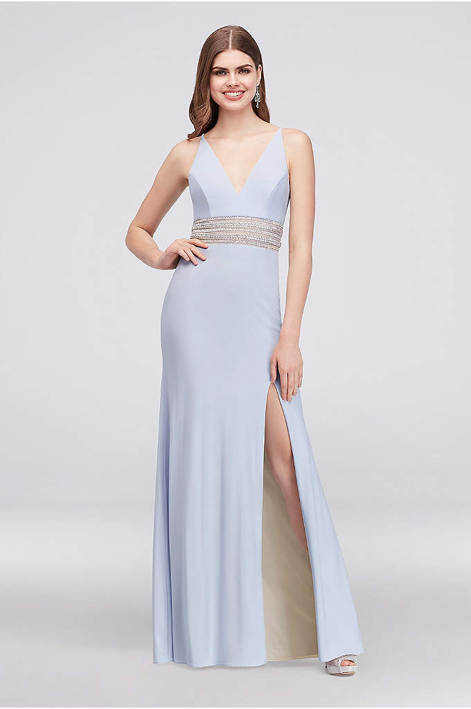 Jersey A-Line Gown with Beaded Waist and V-Back - Rows of crystals, iridescent stones, and metallic beads