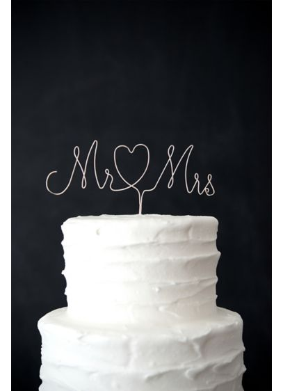 Mr. and Mrs. Wire Cake Topper - Style and simplicity take center stage as they