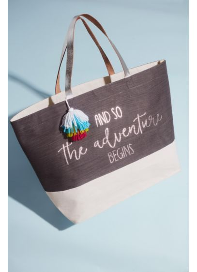 Grey (The Adventure Begins Canvas Tote with Tassel)