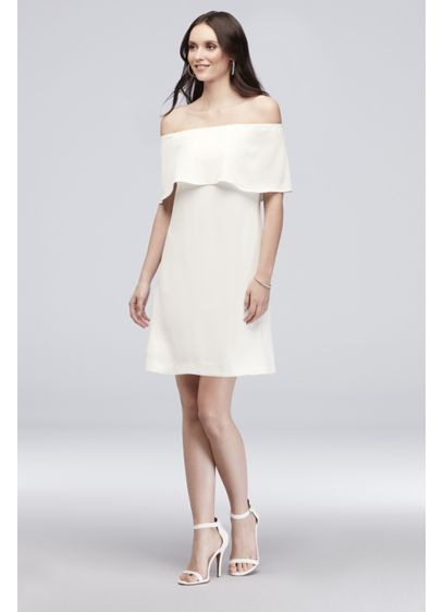 Crepe Off-the-Shoulder Short Sheath Dress - Elegant and sophisticated, this stretch crepe short sheath