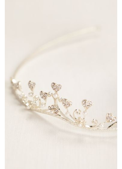 Rhinestone Heart Tiara with Pearls - Wedding Accessories