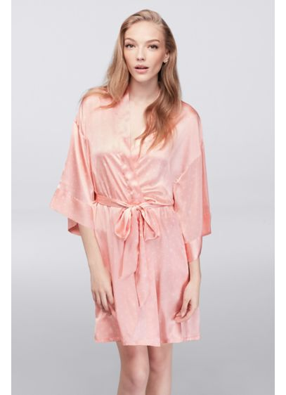 Hearts and Polka Dots Satin Robe - This soft and lustrous satin robe has a