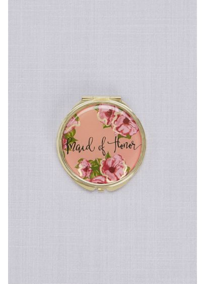 Maid of Honor Compact Mirror - Perfect for pre-ceremony touch ups, this handy floral
