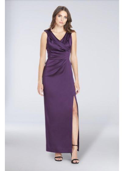 Side Ruched Satin Gown With Portrait Neckline Davids Bridal