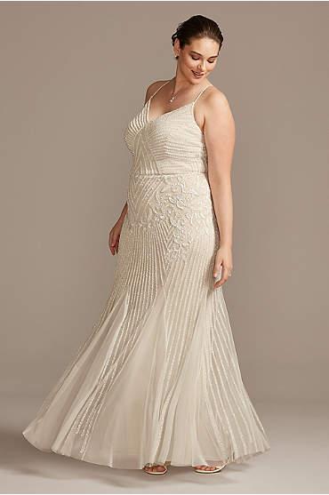 Beaded Sheath V-Neck Plus Size Dress with Godets