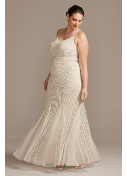 Beaded Sheath V-Neck Plus Size Dress with Godets - Adorned from V-neckline to hem in intricate beadwork,