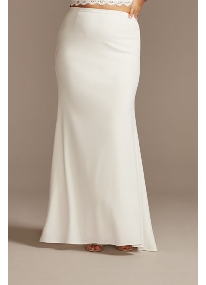 Crepe Sweep Train Plus Size Wedding Separate Skirt - Crafted from stretch fabric, this crepe plus size