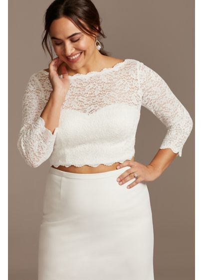 Lace 3/4 Sleeve Plus Size Wedding Separates Top - This lace three-quarter sleeve plus size wedding separates