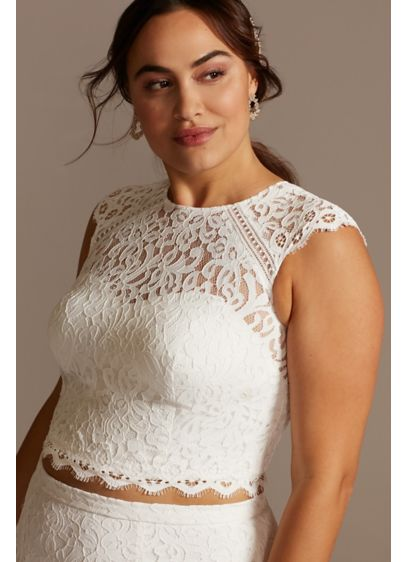 Button Back Lace Plus Size Wedding Separates Top - This lace cap sleeve plus size wedding separates