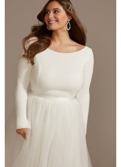 Long Sleeve Stretch Crepe Plus Size Wedding Top - Wear this versatile long-sleeve plus-size top on your