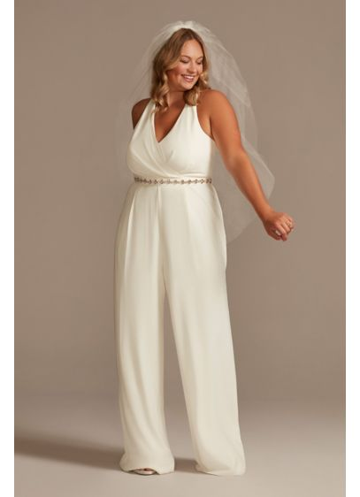 Racerback Crepe Plus Jumpsuit with Crystal Belt - A chic look for a modern wedding or