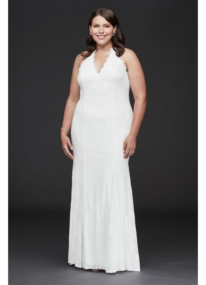 Low Back Eyelash Lace Halter Plus Size Dress - This romantic allover lace, plus-size halter gown combines