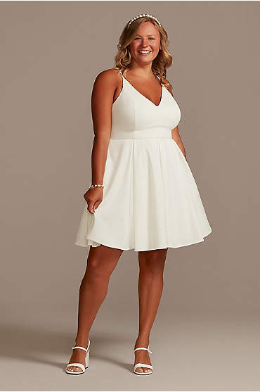 Spaghetti Strap Crepe Plus Fit-and-Flare Dress