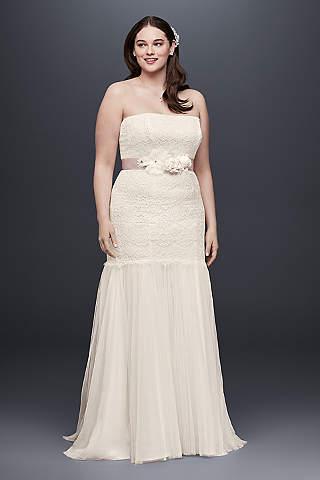 Vestido de Novia con Encaje y Falda de Tul