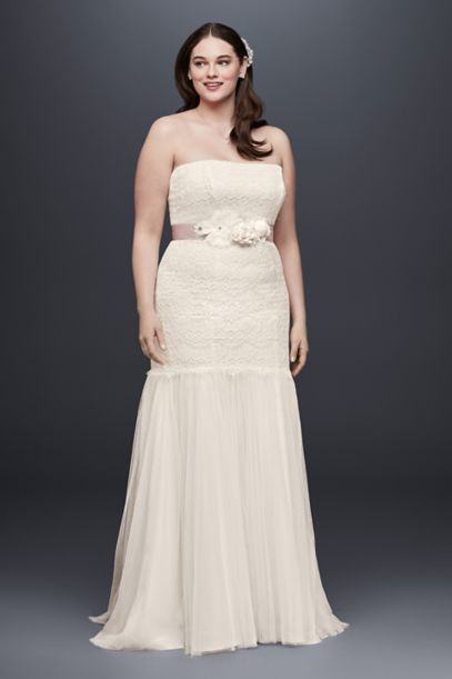 Lace Plus Size Wedding Dress With Tulle Skirt David S Bridal