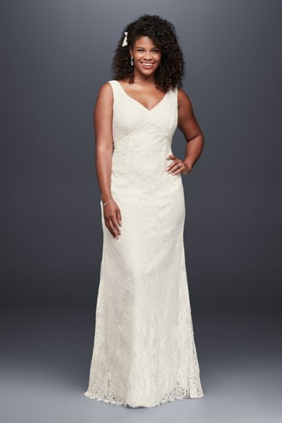 V-Neck Plus Size Wedding Dress with Empire Waist | David's ...