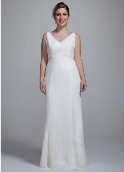 Chiffon Ruffled Plus Size Wedding Dress With Lace Davids Bridal