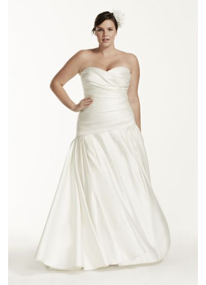 fb89f8ad925 Satin A-Line Plus Size Wedding Dress with Ruching. 9MB3651. Long A-Line  Strapless Dress - David s Bridal Collection