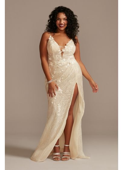 Beaded Plunge Plus Size Wedding Dress with Slit - Ready for a jaw-dropping entrance? This captivating wedding