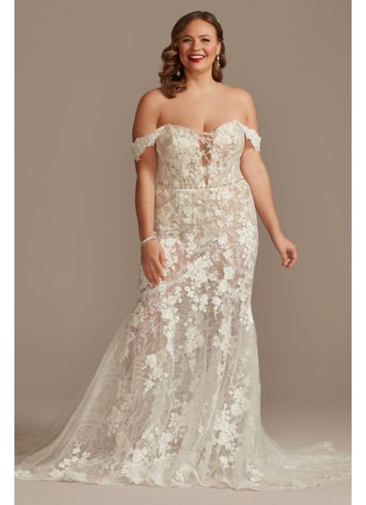 Embellished Illusion Lace Plus Size Wedding Dress - Featuring two different types of sequin lace applique,