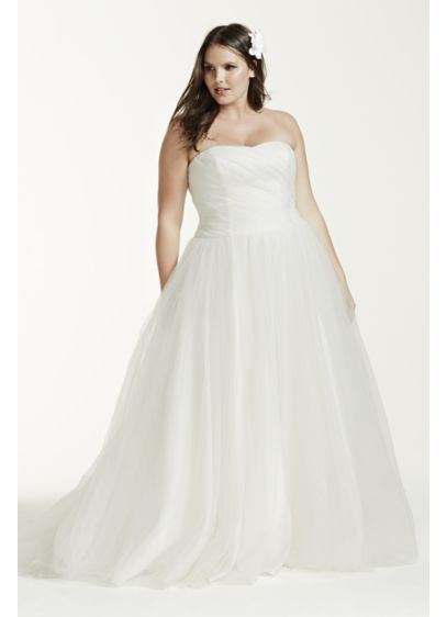 Ruched Bodice Tulle Plus Size Wedding Dress David S Bridal