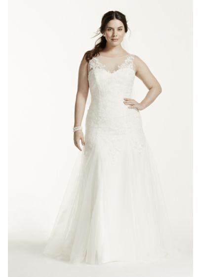 Illusion Neck Deep V Back Plus Size Wedding Dress | David\'s Bridal