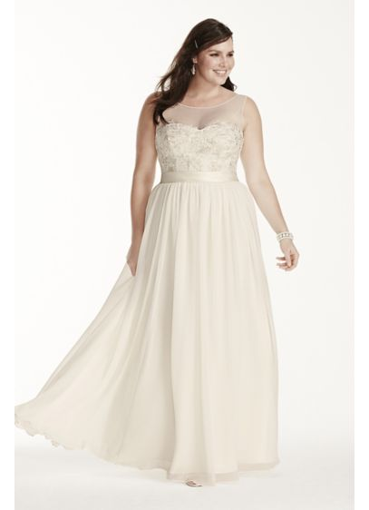 522da562749 Illusion Tank Plus Size Wedding Dress with Lace. 9MK3747. Long Sheath Beach  Wedding Dress - David s Bridal Collection