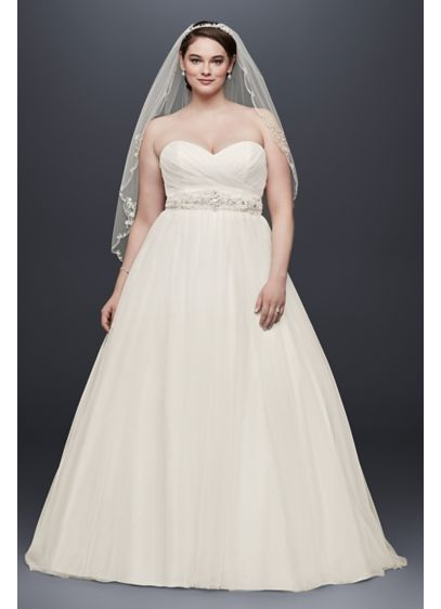 Plus Size Tulle Wedding Dress with Pleated Bodice | David\'s Bridal