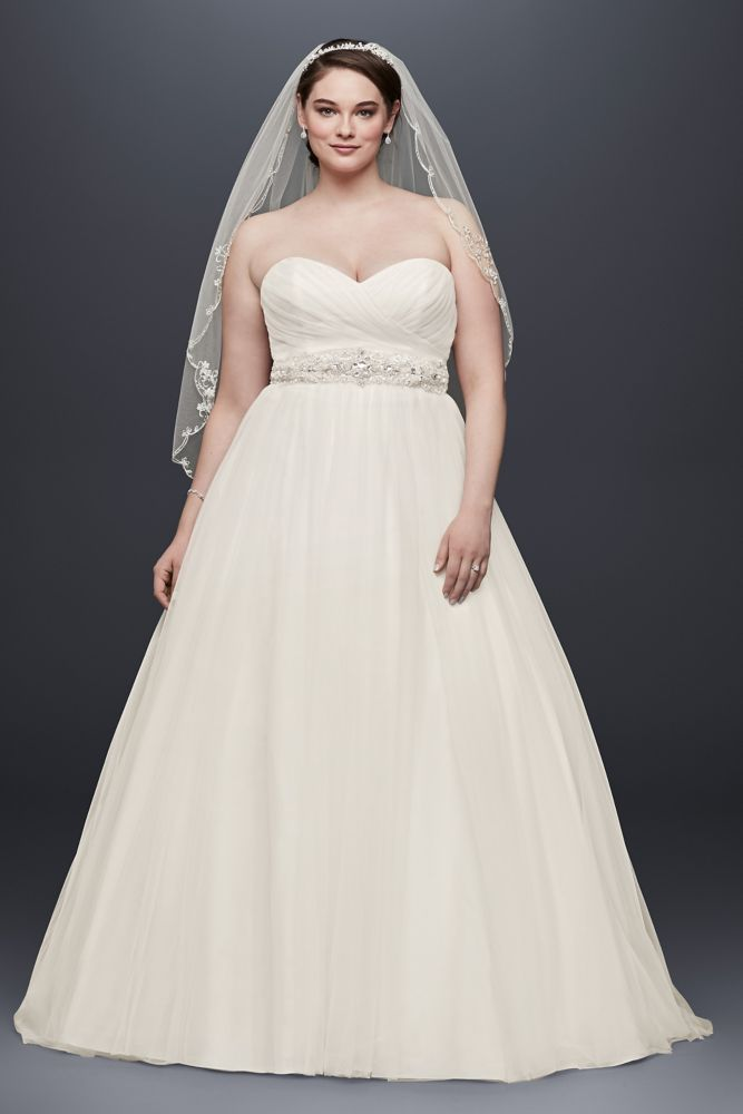 Plus Size Tulle Wedding Dress with Pleated Bodice Style 9NTWG3802