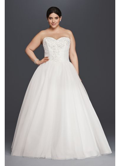 Plus Size Strapless Tulle Ball Gown Wedding Dress - Fitting for a modern-day royal, this plus size
