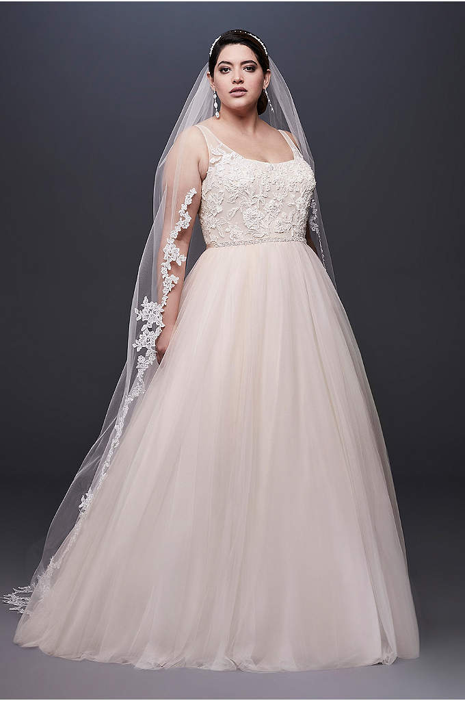 Lace and Tulle Plus Size Wedding Dress with - A skirt crafted of tulle, netting, and crinkle