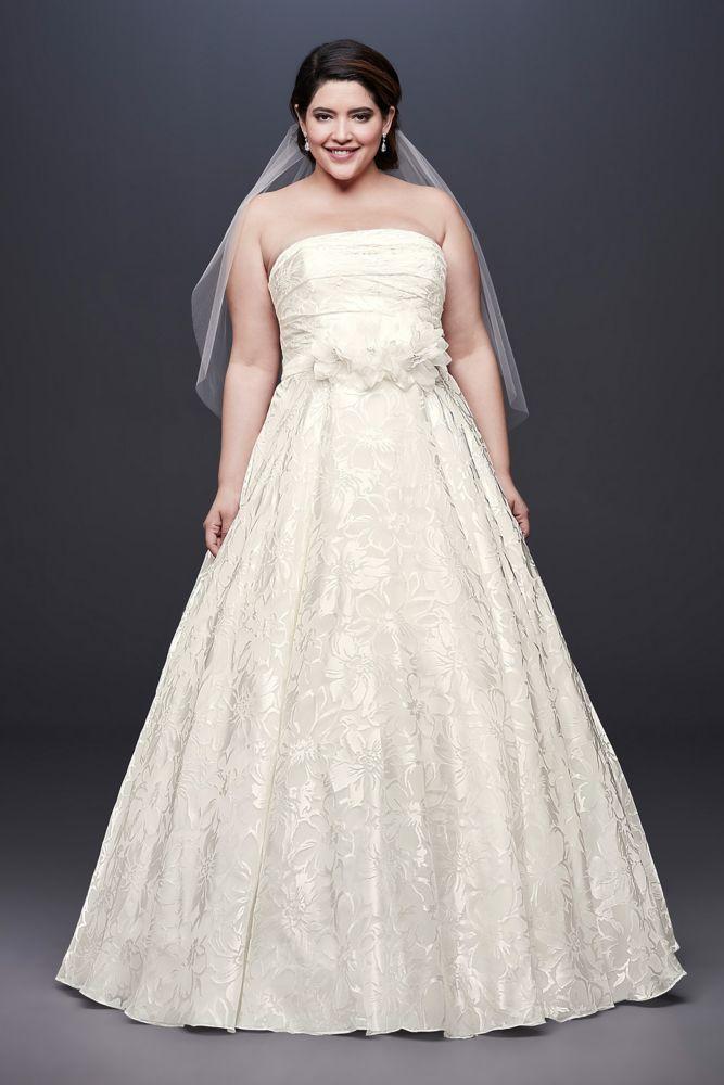 Printed Organza A-line Plus Size Wedding Dress Style 9NTWG3907