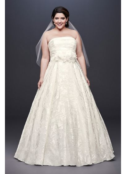 Printed Organza A-line Plus Size Wedding Dress - A subtle floral print adds just enough luster