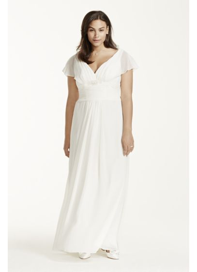 Flutter Sleeve Chiffon Plus Size Wedding Dress Davids Bridal