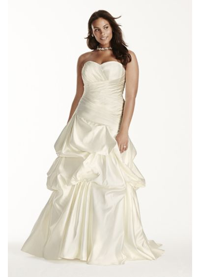 Satin Ruched Drop Waist Plus Size Wedding Dress Davids Bridal
