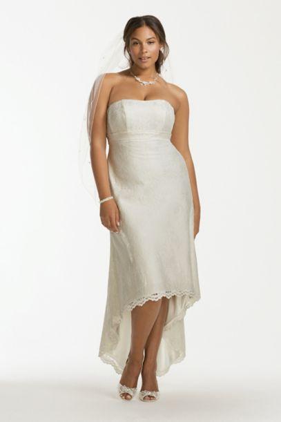 Scalloped High Low Lace Plus Size Wedding Dress Davids Bridal