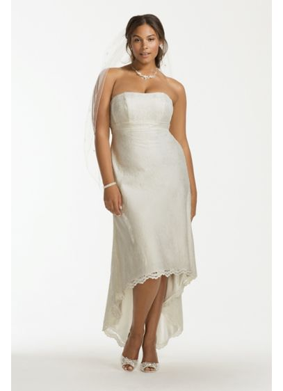Scalloped High Low Lace Plus Size Wedding Dress