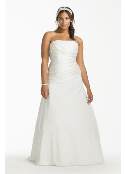 Satin Drop Waist A-Line Plus Size Wedding Dress | David\'s Bridal