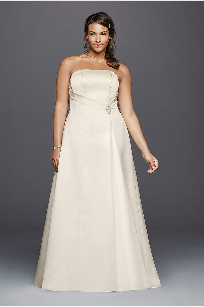 Beaded Satin Plus Size Wedding Dress with Brooch