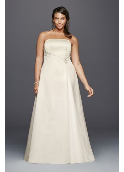 Beaded Satin Plus Size Wedding Dress with Brooch | David\'s Bridal