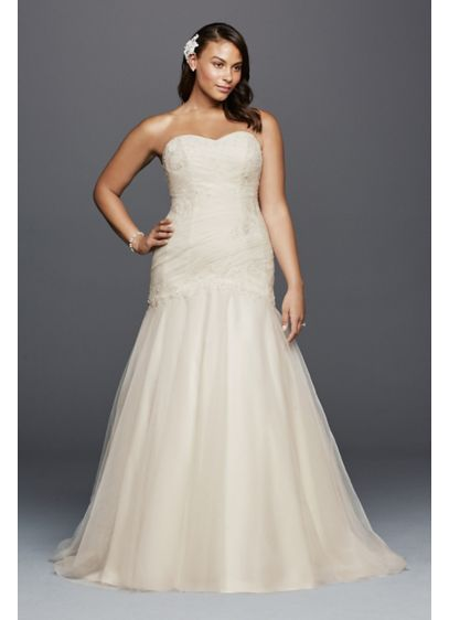 Trumpet plus size wedding dress with lace details davids bridal long mermaid trumpet formal wedding dress davids bridal collection junglespirit Image collections