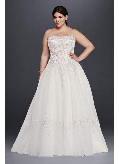 Tulle Plus Size Wedding Dress With Lace Appliques Davids Bridal