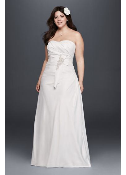 Plus Size Ruched Wedding Dress with Bow at Hip | David\'s ...