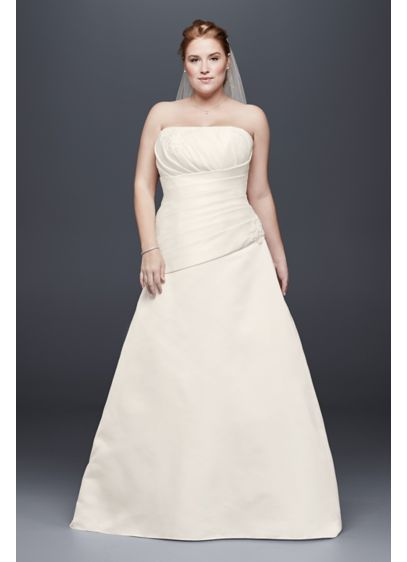 Pleated Satin Drop Waist Plus Size Wedding Dress Davids Bridal
