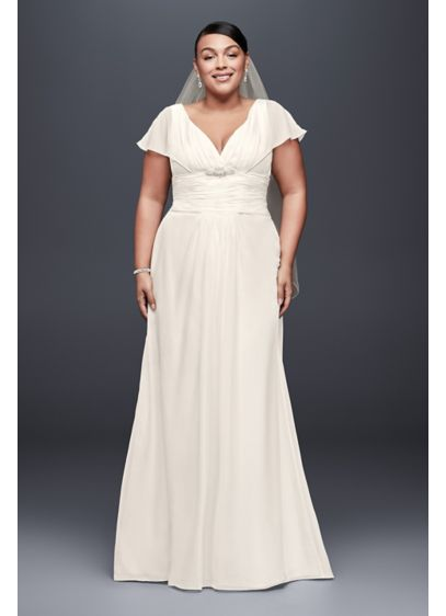 Flutter-Sleeve Chiffon Plus Size Wedding Dress