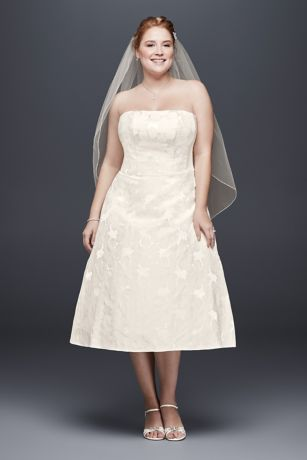 David's Bridal Strapless Tea Length Dress